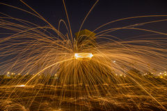 Steel wool. At night in Thailand royalty free stock images