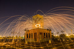Steel wool. At night in Thailand stock photo