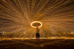 Steel wool. At night in Thailand stock photos