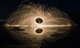 Steel wool over the salt lake royalty free stock photos