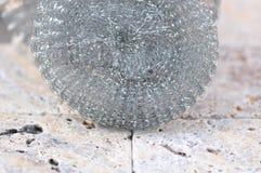 Steel wool pad. Macro detail of steel wool pad stock photos