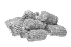 Steel Wool Scourers Macro Isolated. Isolated macro image of steel wool scourers stock photography