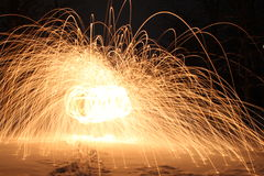 Steel wool in the snow Royalty Free Stock Photo