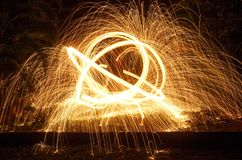 Steel Wool Sparks. Having long exposure in the jungle stock image