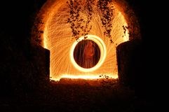 Steel wool spinning circles royalty free stock photos