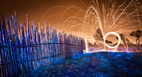 Steel wool spinning at the countryside Stock Images