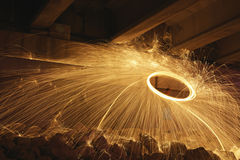 Steel wool spinning Stock Images