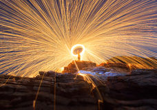 Steel wool Spinning Royalty Free Stock Image