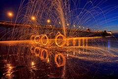 Steel Wool Spinning at the Imperial Beach Pier Royalty Free Stock Photo