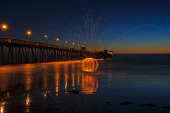 Steel Wool Spinning at the Imperial Beach Pier Royalty Free Stock Photos