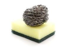 Steel wool and sponge Stock Photos