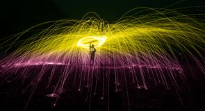 Steel wool. Light painting royalty free stock photos