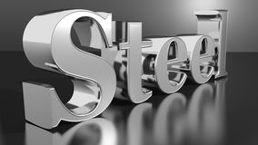Steel. The word Steel made in reflective steel on a black reflective plane Royalty Free Stock Photo