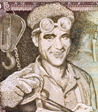 Steel Worker. On 10 Dinars 1968 Banknote from Yugoslavia Stock Photo