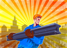 Steel Worker Carry I-Beam Retro Poster Royalty Free Stock Images