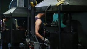 Steel Worker In Metal Industry. Steel Workers welding, grinding, cutting in metal industry stock video footage