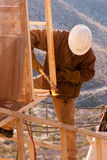 Steel Worker-1. Photo of steel worker welding steel high up in the sky Royalty Free Stock Photos