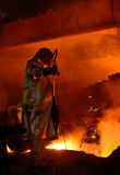 Steel worker in plant Royalty Free Stock Photo