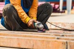 Steel Workers  grinding in metal industry Stock Photo