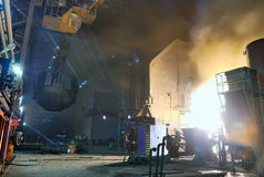 Steel works, charging of a furnace Royalty Free Stock Photography