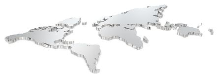 Steel world map. Royalty Free Stock Image