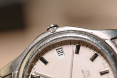 Steel Wrist Watch closeup Royalty Free Stock Images