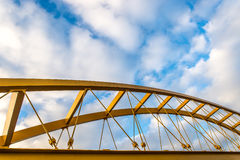 Steel yellow bridge Royalty Free Stock Photos