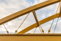Steel yellow bridge Stock Image
