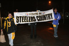 Steelers fans celebrating victory Stock Photography