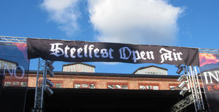 Steelfest Open Air. Banner against the blue sky stock image