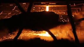 Steelmaking process at steel plant stock video