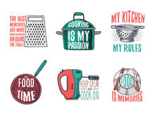 Steelpan en rasp, vergiet en pan, mixer en plaat Bakkend of vuil keukengerei, kokend materiaal embleem royalty-vrije illustratie