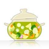 Steelpan met groentesoep royalty-vrije illustratie