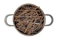 Steelpanhoogtepunt van roestige spijkers Royalty-vrije Stock Fotografie