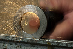 Steels grinding using abrasive tool Royalty Free Stock Image