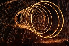 Steelwool, Dark, Firespin, Spiral Stock Photos