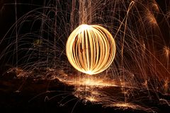 Steelwool, Firespin, Fireball, Dark Royalty Free Stock Photo