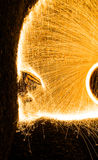 Steelwool. Sparks flying in a tunnel stock photos