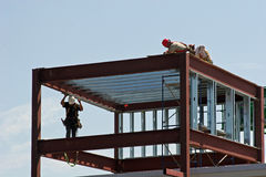 SteelWorkers. Workers atop steel construction Stock Photography