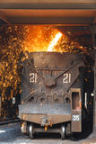 Steelworks Melt the molten steel Stock Image