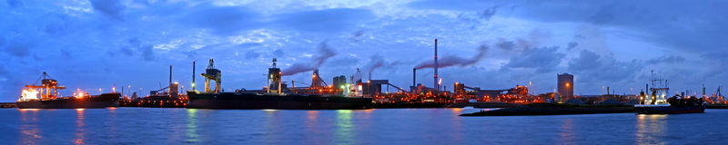 Steelworks at night stock photography