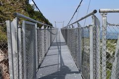 Steely hanging bridge on Hochkar. Austria Royalty Free Stock Image