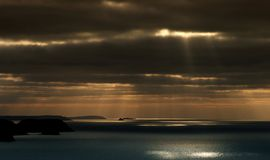 Steely Sea Boscastle Cornwall UK. This approaching storm was taken from the clifftops nr crackington haven in north cornwall, the land silhouette is bedruthan Royalty Free Stock Photography
