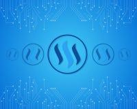 Steem-blockchain auf blauem Hintergrund Lizenzfreies Stockbild