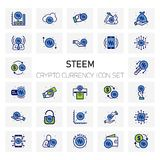 Steem Crypto Currency icons set. For web design and application interface, also useful for infographics. Vector illustration Royalty Free Stock Photos
