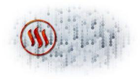 Steem - logo sur le fond de Digital Images stock