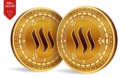 Steem monete fisiche isometriche 3D Valuta di Digital Cryptocurrency Monete dorate con il simbolo di Steem isolate su fondo bianc Illustrazione Vettoriale
