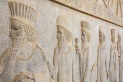 Steen bas-hulp in oude stad Persepolis Royalty-vrije Stock Afbeeldingen