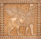 Steen die Lamassu of Shedu in mitology van Mesopotamië snijden Royalty-vrije Stock Foto