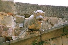 Steen dierlijke gargouille op kerk in Barcelona Stock Afbeelding